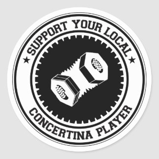 Support Your Local Concertina Player Round Sticker