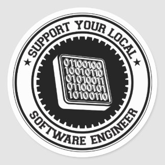 Support Your Local Software Engineer Classic Round Sticker
