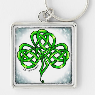 Supporter, clover sheet, Celtic knot, much luck Key Ring