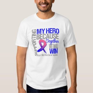 Supporting My Hero - Male Breast Cancer Awareness Tee Shirts