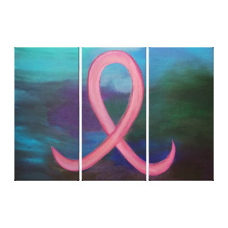 Supportive Bold Pink Breast Cancer Ribbon Canvas Print