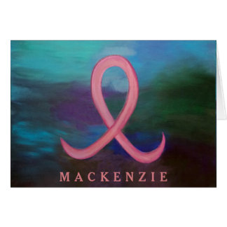 Supportive Bold Pink Breast Cancer Ribbon Card