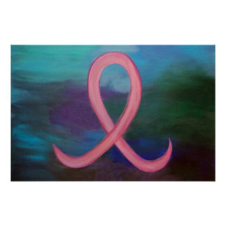 Supportive Bold Pink Breast Cancer Ribbon Poster