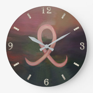 Supportive Decor | Rust Pink Breast Cancer Ribbon Large Clock