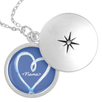 Supportive Heart Design Blue Custom Necklace