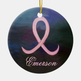 Supportive Holiday | Bold Pink Breast Cancer Name Ceramic Ornament