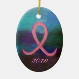 Supportive Holiday | Bold Pink Cancer Ribbon Name Ceramic Ornament