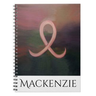 Supportive Office | Rustic Name Pink Breast Cancer Spiral Notebook