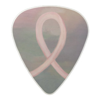 Supportive Rustic Awareness Ribbon Breast Cancer Acetal Guitar Pick