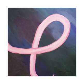 Supportive Soft Pink Breast Cancer Ribbon Canvas Print