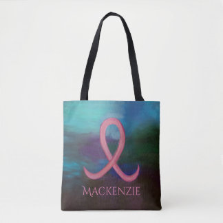 Supportive Style | Name Bold Pink Breast Cancer Tote Bag