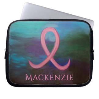 Supportive Tech | Name Bold Pink Breast Cancer Laptop Sleeve
