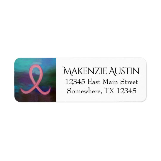 Supportive Words | Bold Pink Breast Cancer Ribbon Return Address Label