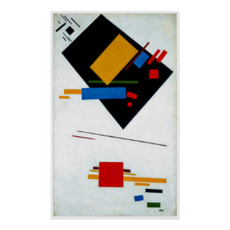 Suprematist with Black Trapezium and Red Square ~ Poster