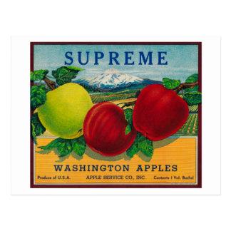 Supreme Apple Label - Washington State Postcard