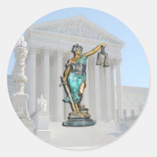 SUPREME-CT-LADY-JUSTICE ROUND STICKER