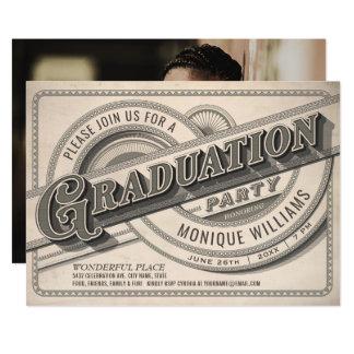 Supreme Vintage Graduation Party Invitations Photo