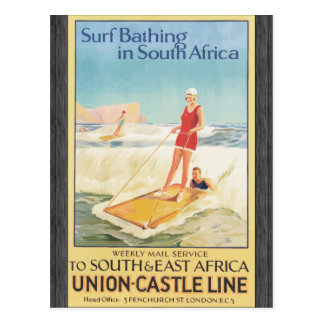 Surf Bathing In South Africa , Vintage Postcard