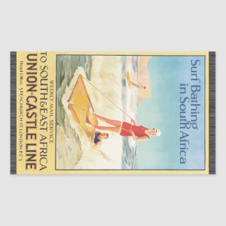 Surf Bathing In South Africa , Vintage Rectangular Sticker