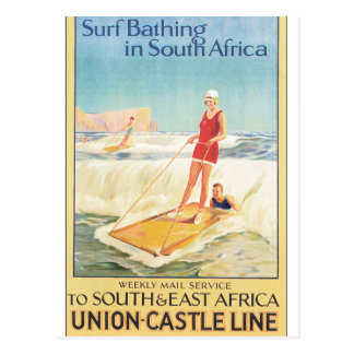 Surf Bathing in South Africa Vintage Travel Poster Postcard