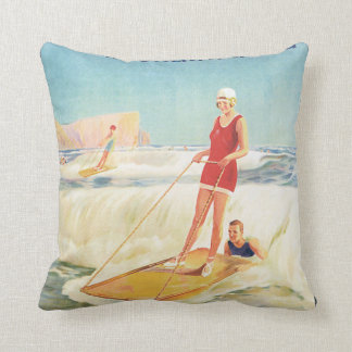 Surf Bathing in South Africa Vintage Travel Poster Throw Pillow
