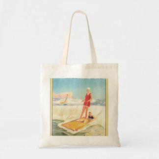 Surf Bathing in South Africa Vintage Travel Poster Tote Bag