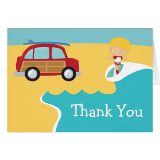Surf Beach Birthday Party Thank You Card
