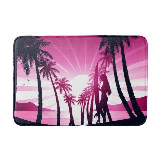 Surf board at sunrise bath mat
