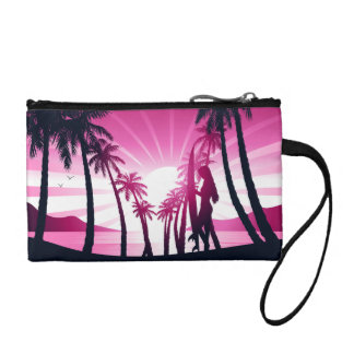 Surf board at sunrise coin purse