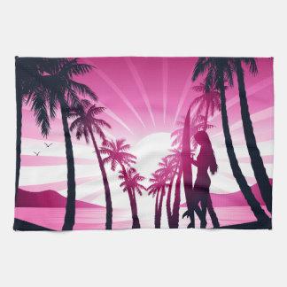 Surf board at sunrise tea towel