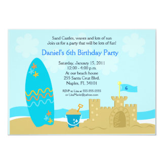 SURF BOARD BEACH SAND CASTLE 5x7 Custom Invitation