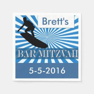 Surf board Designer Bar Mitzvah Napkins Disposable Serviette