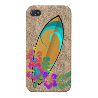 surf board hibiscus flowers unisex surfer case iPhone 4 cover