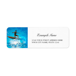 Surf Boarder Return Address Label