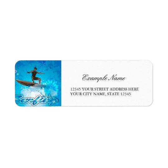 Surf Boarder Return Address Label
