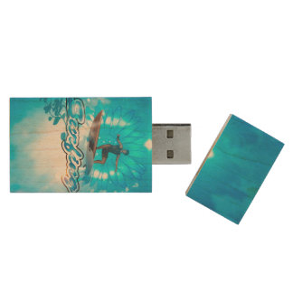 Surf boarders on blue background wood USB 2.0 flash drive