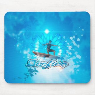 Surf boarders on blue background mousepads