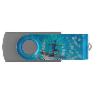Surf boarders on blue background swivel USB 2.0 flash drive