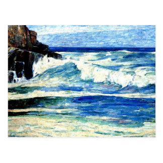 Surf Breaking on Rocks Postcard