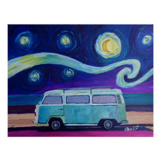 Surf Bus Starry Night Edition Poster