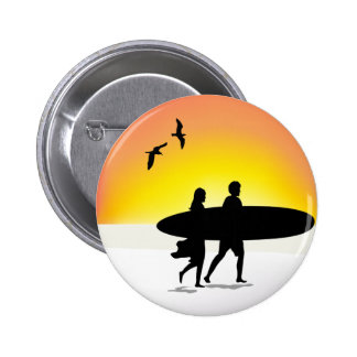 Surf Couple at Sunset Pin Back Button