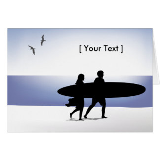Surf Couple at the Beach Greeting Card