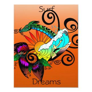 Surf Dreams Orange 11 Cm X 14 Cm Invitation Card