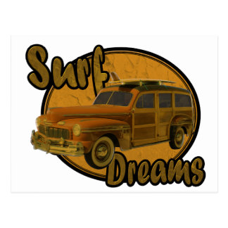 surf dreams woodie wagon brown postcard