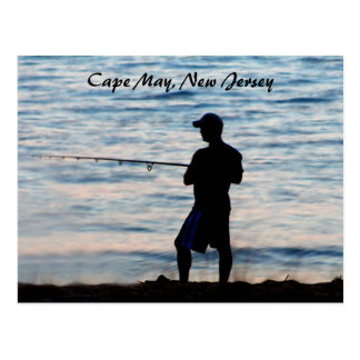 Surf Fishing In Cape May At Dusk 6 Postcard