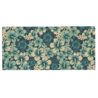 Surf Floral Hibiscus Pattern Wood USB 2.0 Flash Drive