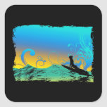 Surf Girl Square Stickers