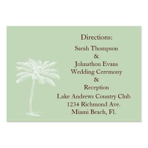 Surf Green Beach Getaway Direction Cards Business Card