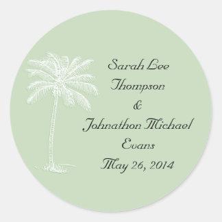 Surf Green Beach Getaway Wedding Seals/Stckers Round Sticker