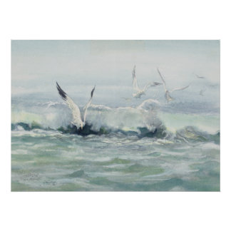 SURF GULLS & SEA by SHARON SHARPE Poster